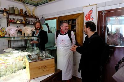 Dario Cecchini Greeting Customers in His Butcher Shop, Panzano