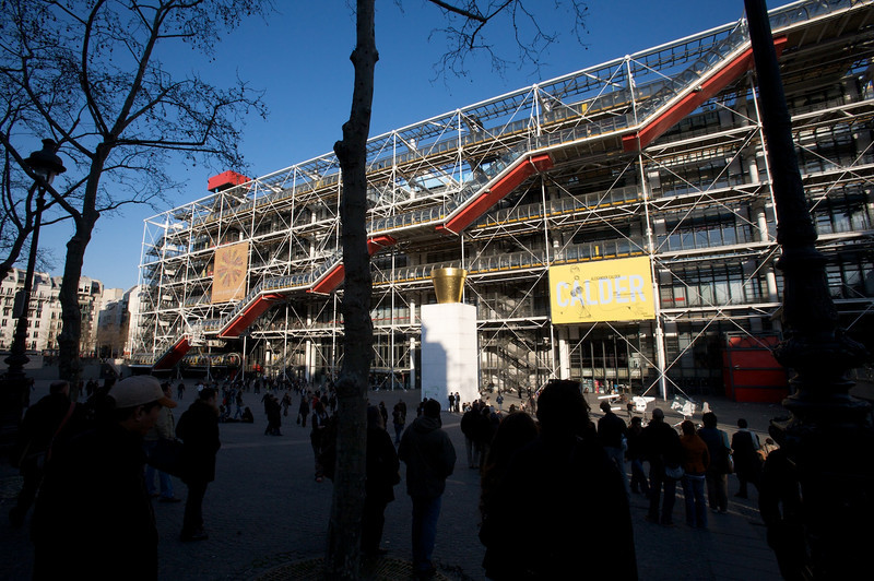 people hanging out by the pompidou