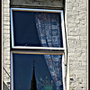 Reflection of Banbury Cross;  Window on High Street     <b>Copyright ©2009 Florence T. Gray. This image is protected under International Copyright laws and may not be downloaded, reproduced, copied, transmitted or manipulated without written permission.</b>