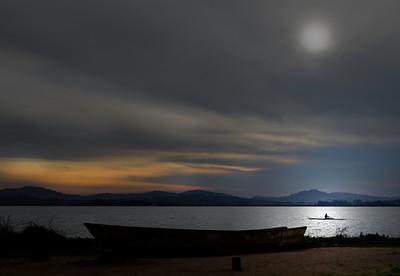 Evening at Lake Victoria, Uganda.