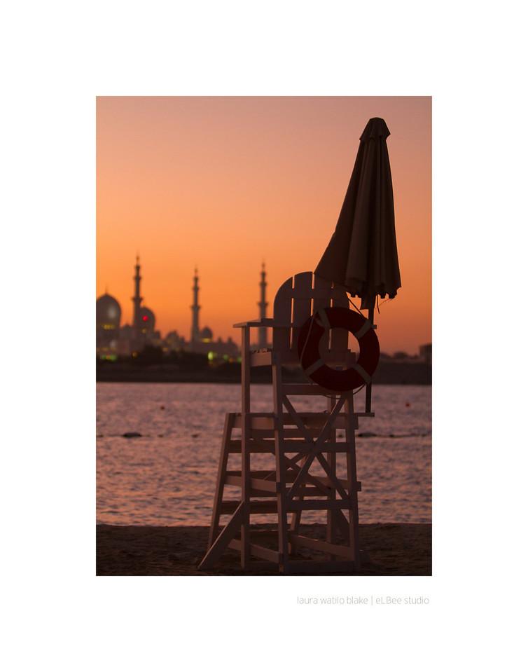 ABU DHABI BEACH with the Sheikh Zayed Grand Mosque in the background. 2011, Abu Dhabi, United Arab Emirates