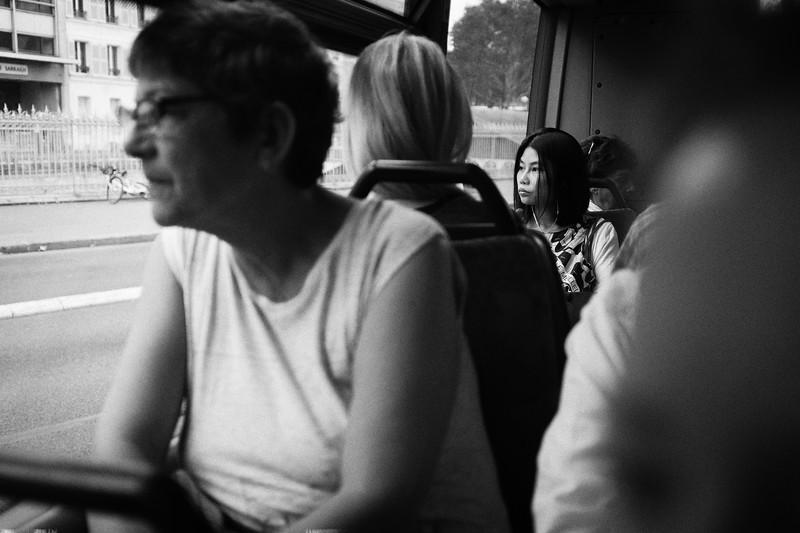 Dans le bus jusqu'à Place d'Italie