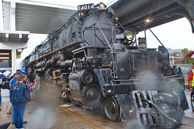 Big Boy at Houston's Amtrak Station in the Rain