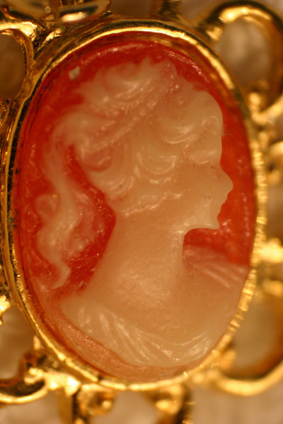 Cameo Carefully carved from soft shell, this fine lady rests comfortably in a box until it is time to be worn