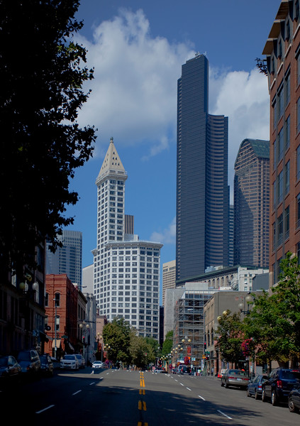 Great shot right down the center of the street of Smith Tower and the Columbia Tower in downtown Seattle