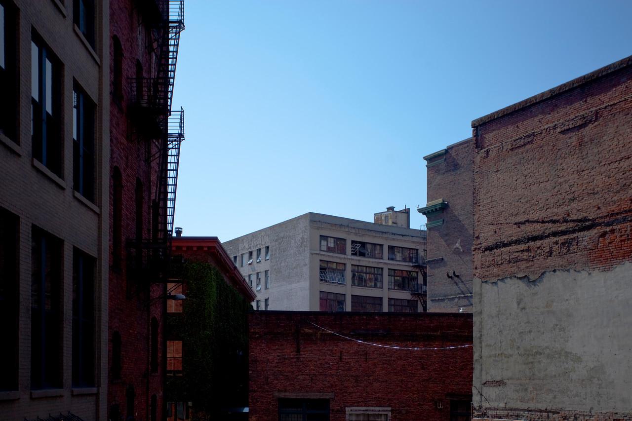 Scene of older buildings in downtown Seattle