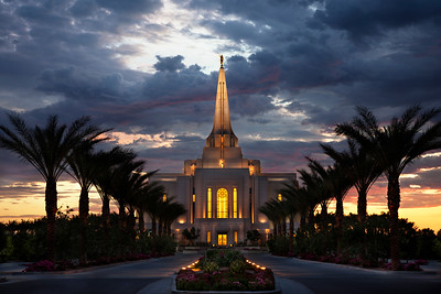Gorgeous sunset and clouds over LDS Gilbert, AZ temple