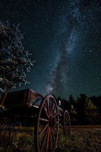 Starry Night and Old Wagon in Greer, Arizona