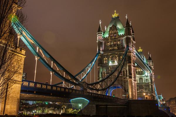 Rainy Night Tower Bridge, London, England