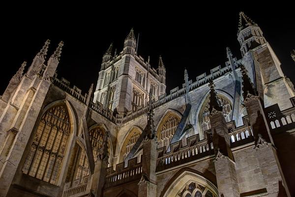 Black sky against the abbey in Bath, England