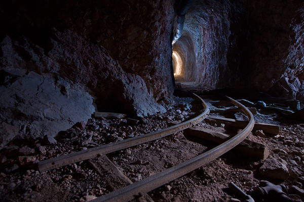 Tunnel and railway leading to copper mine, Arizona