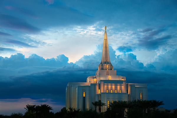 Brilliant blue clouds Mormon LDS Temple, Gilbert, AZ