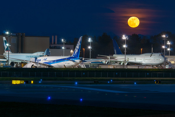 Moonrise over Paine Field 1