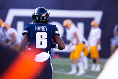 Utah State's Cameron Haney in the last home game of the season against San Jose State on Nov. 11, 2018 in Logan, Utah. Aggies went undefeated on their home turf with a 62-24 win against the Spartans. (Megan Nielsen)