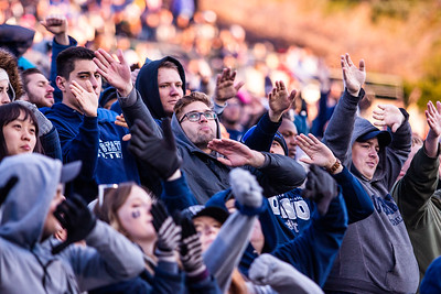 Utah State fans cheer on the Aggies in the last home game of the season against San Jose State on Nov. 11, 2018 in Logan, Utah. Aggies went undefeated on their home turf with a 62-24 win against the Spartans. (Megan Nielsen)