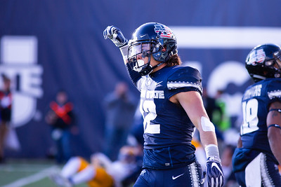 Utah State's DJ Nelson scores a touchdown in the last home game of the season against San Jose State on Nov. 11, 2018 in Logan, Utah. Aggies went undefeated on their home turf with a 62-24 win against the Spartans. (Megan Nielsen)