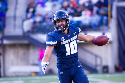 Utah State's Tipa Galeai celebrates after he recovers the ball at the last home game of the season against San Jose State on Nov. 11, 2018 in Logan, Utah. Aggies went undefeated on their home turf with a 62-24 win against the Spartans. (Megan Nielsen)