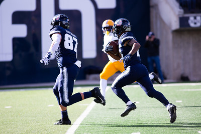 Utah State's Jordan Nathan runs the ball for a Utah State Touchdown in the last home game of the season against San Jose State on Nov. 11, 2018 in Logan, Utah. Aggies went undefeated on their home turf with a 62-24 win against the Spartans. (Megan Nielsen)