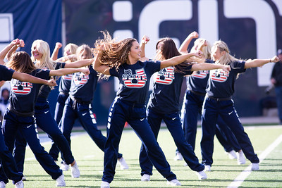 Utah State's Spirit squad performs at the last home game of the season against San Jose State on Nov. 11, 2018 in Logan, Utah. Aggies went undefeated on their home turf with a 62-24 win against the Spartans. (Megan Nielsen)