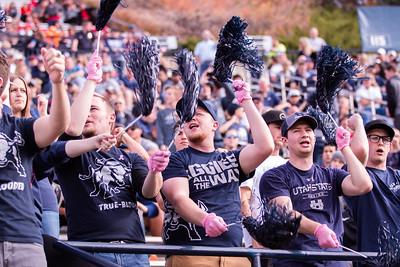 Utah State University students cheer at the football game against New Mexico in the Maverik stadium in Logan, Utah on Oct. 27, 2018. Utah State defeated the Lobos 61-19, making the Aggies season record 7 and 1. (Megan Nielsen)