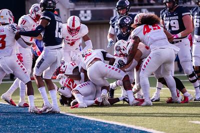 Utah State University football defeats New Mexico 61-19 in the Maverik stadium in Logan, Utah on Oct. 27, 2018. Utah State's record is now 7-1. (Megan Nielsen)