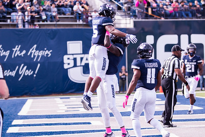 Utah State University Darwin Thompson runs the ball in for a touchodwn against New Mexico in the Maverik stadium in Logan, Utah on Oct. 27, 2018. Utah State defeated the Lobos 61-19, making the Aggies season record 7 and 1. (Megan Nielsen)