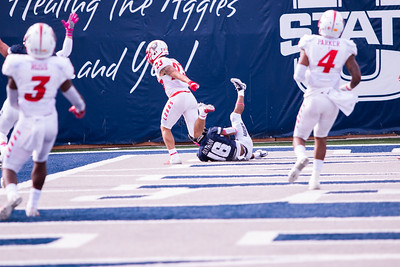 Utah State University with a touchdown against New Mexico in the Maverik stadium in Logan, Utah on Oct. 27, 2018. Utah State defeated the Lobos 61-19, making the Aggies season record 7 and 1. (Megan Nielsen)