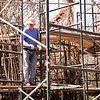 Patrick Dougherty, a world renowned artist, stands on scaffolding as he works on an art installation on Utah State University's campus. Dougherty worked everyday from September 3 to September 21, 2018. Dougherty's build around 250 installations in the past 30 years. His work can be found all over the world but this piece was the first installation Dougherty ever built in Utah. (Megan Nielsen)