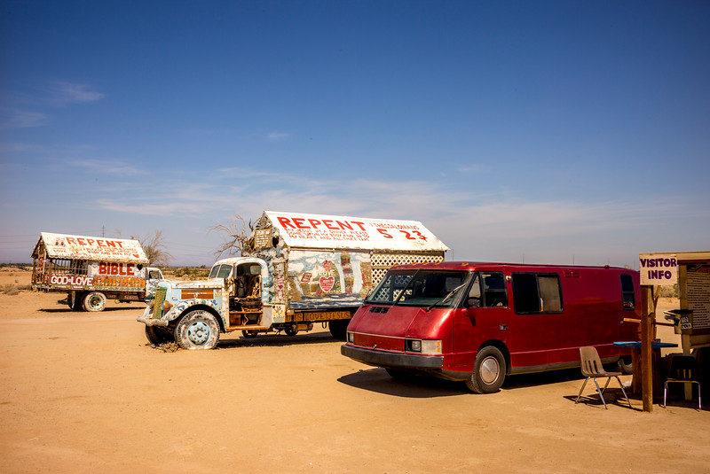 Salvation Mountain, near the Salton Sea: The only time the Vixen wasn't the most unusual vehicle in a place.
