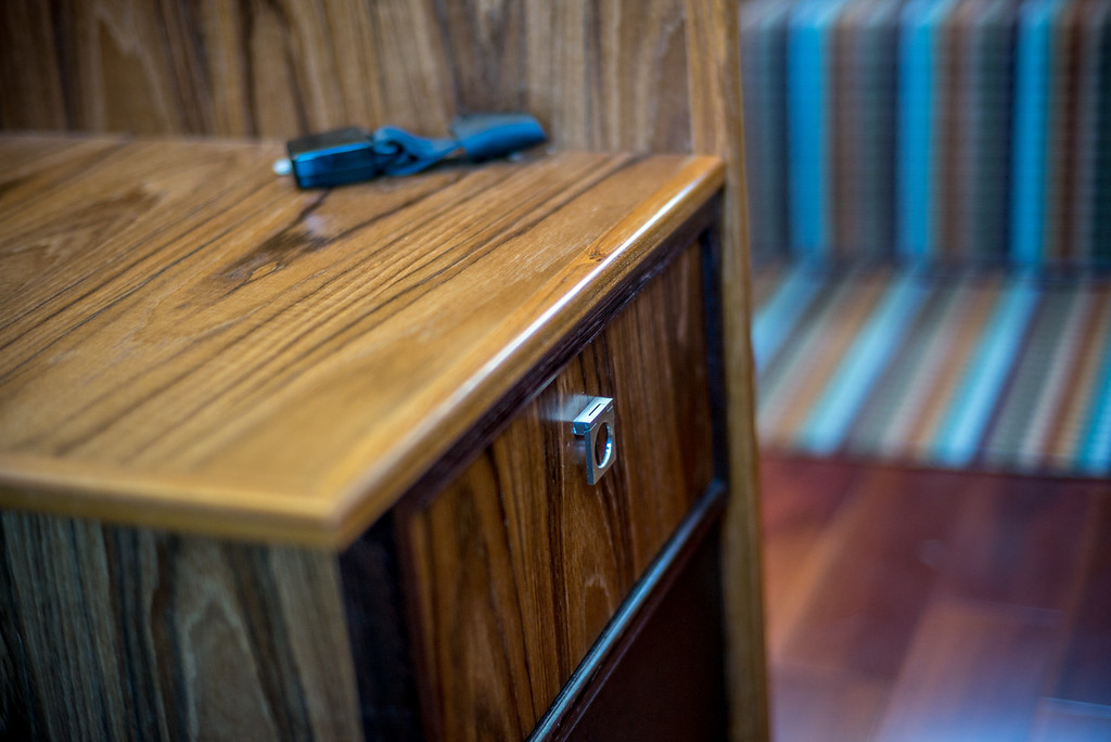 Well over 200 hours of labor have gone into the custom wood interior. Master carpenters Steve Levinson and Richard Draut did most of the work.