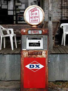 Old gas pump outside Taylor Grocery in Taylor, MS. Great catfish, fun atmosphere.