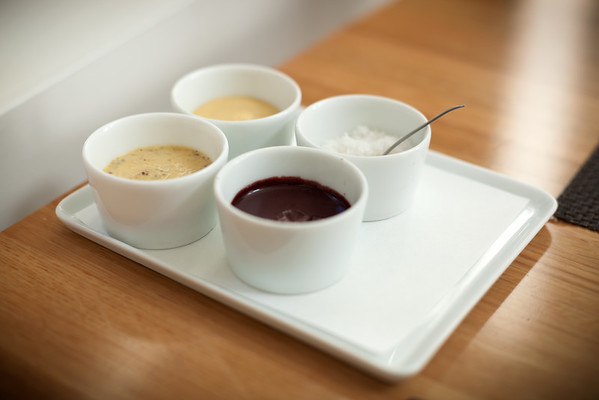 With our main course expected to arrive soon, we are served a variety of mustards and sea salt.