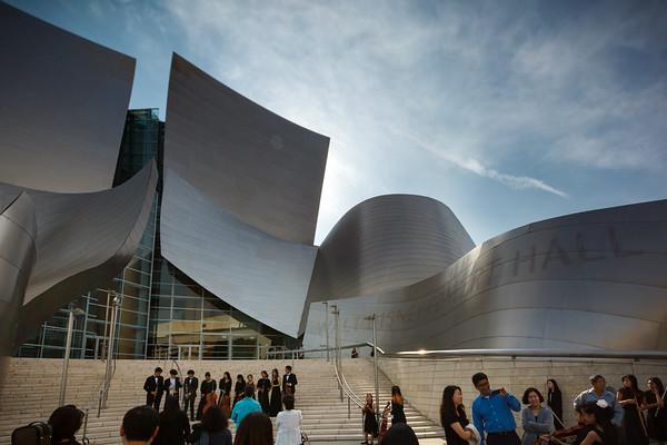We pass the Walt Disney Concert Hall