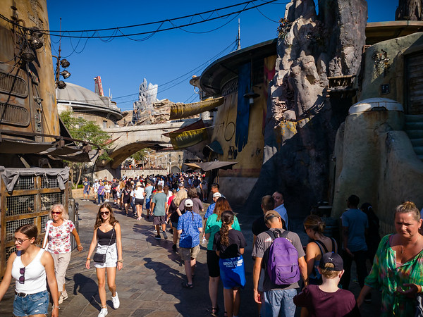 We hop in line for Smuggler's Run, currently the only open ride in Galaxy's Edge.  A quick check of the Disneyland App shows a wait time of 70 minutes