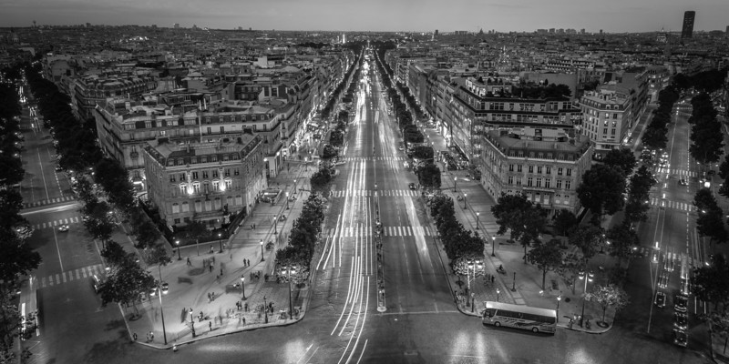 Avenue des Champs-Elysees<br /> <br /> Tech:<br /> Camera | Nikon D7100<br /> Lens | Nikkor 12-24mm; at 12mm<br /> Exposure | 5 sec; f/11; ISO 100<br /> Filters: None