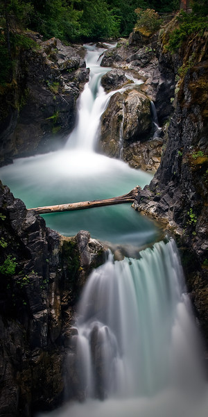 Qualicum Falls<br /> <br /> Tech:<br /> Camera | Nikon D80<br /> Lens | Nikkor 18-200mm<br /> Exposure | 46sec;  f/11; ISO 100<br /> Filters: B+W 110 ND