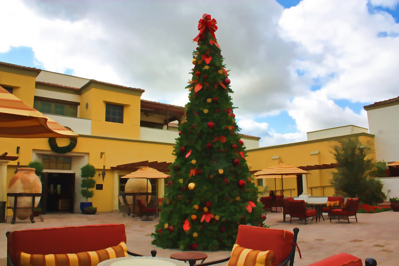 Rendered photo of the hotel Montlucia's courtyard under sunny skies. (Paradise Valley, AZ)