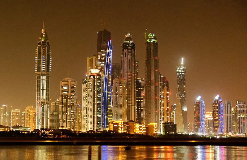 Dubai Skyline at night.