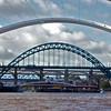 Under The Bridge. Sailing under the Millennium Bridge on the Tyne in Newcastle.