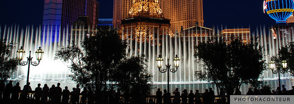 """Vegas Fountain No. 5"" ~ A view of the famous choreographed fountains in Las Vegas against a backdrop of the Eiffel Tower."