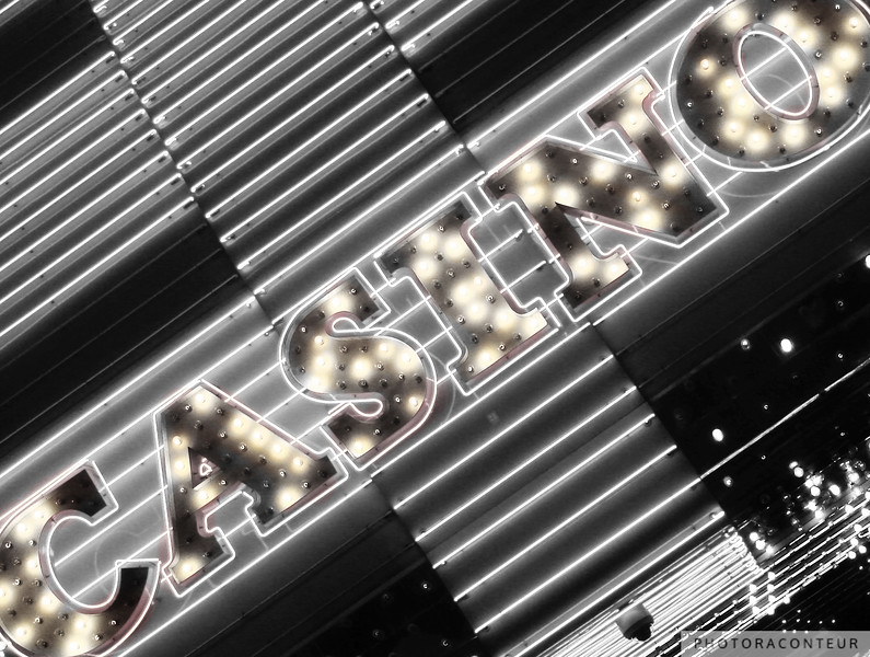 """Vegas Lights in B&W No. 4"" ~ Neon sign found along Fremont Street in Las Vegas."