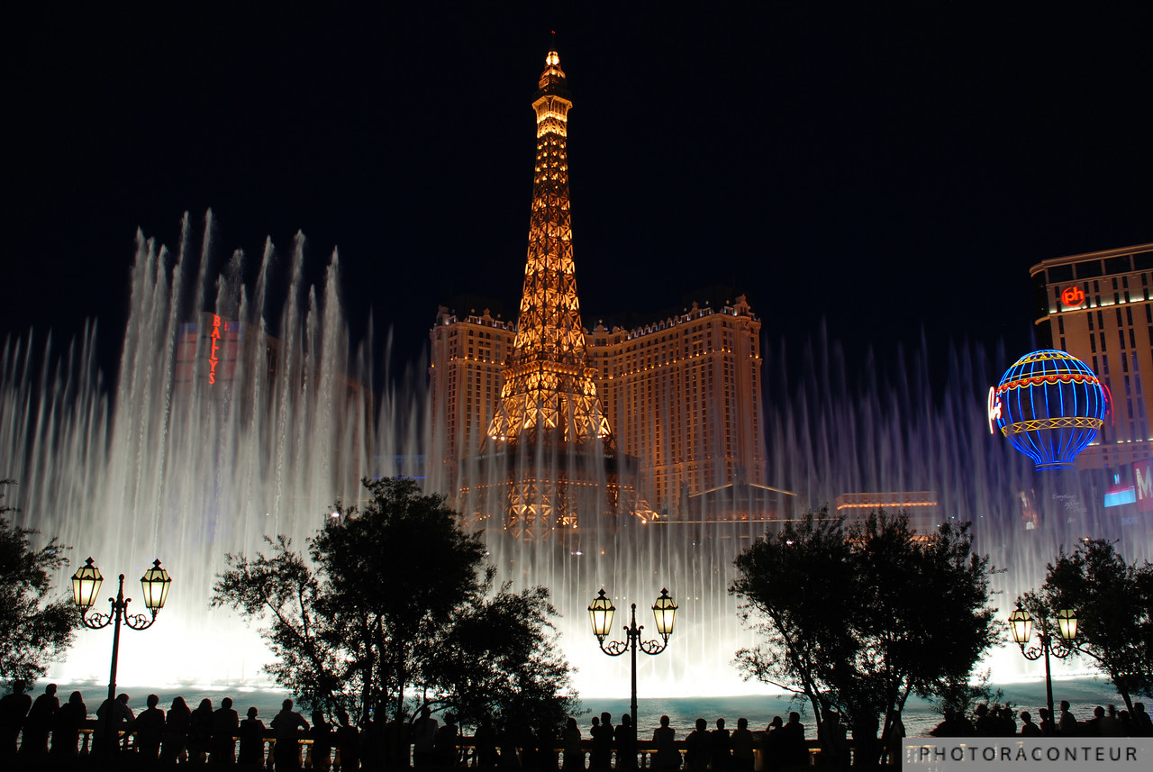 """Vegas Fountain No. 4"" ~ A view of the famous choreographed fountains in Las Vegas against a backdrop of the Eiffel Tower."