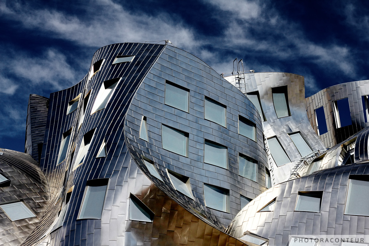 """Modern Vegas IV"" ~ Vignette of Cleveland Clinic's chaotically beautiful Lou Ruvo Center for Brain Health in downtown Las Vegas.  The undulating stainless steel covered structure was designed by the master of deconstructivist architecture, Frank Gehry."