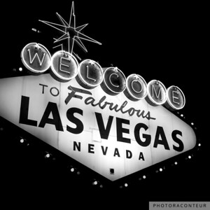 """Vegas Sign No. 21"" ~ Classic black & white depiction of the famous Welcome to Fabulous Las Vegas neon sign."