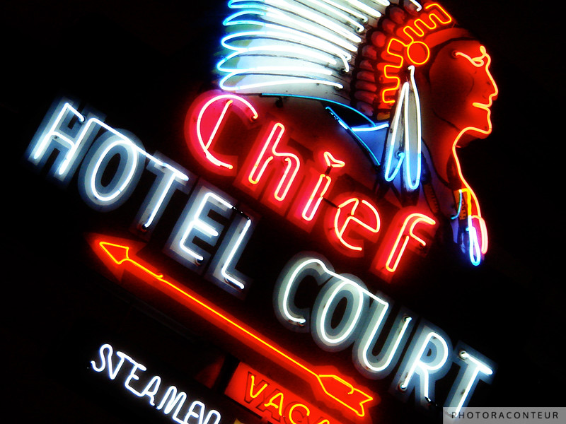 """""""Chief Hotel"""" ~ Historic neon sign located on Fremont Street in downtown Las Vegas, NV."""
