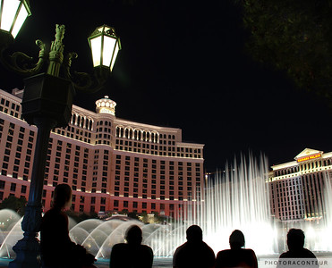 """Vegas Fountain No. 3"" ~ A view of the famous choreographed fountains in Las Vegas against a backdrop of luxurious casino resorts."