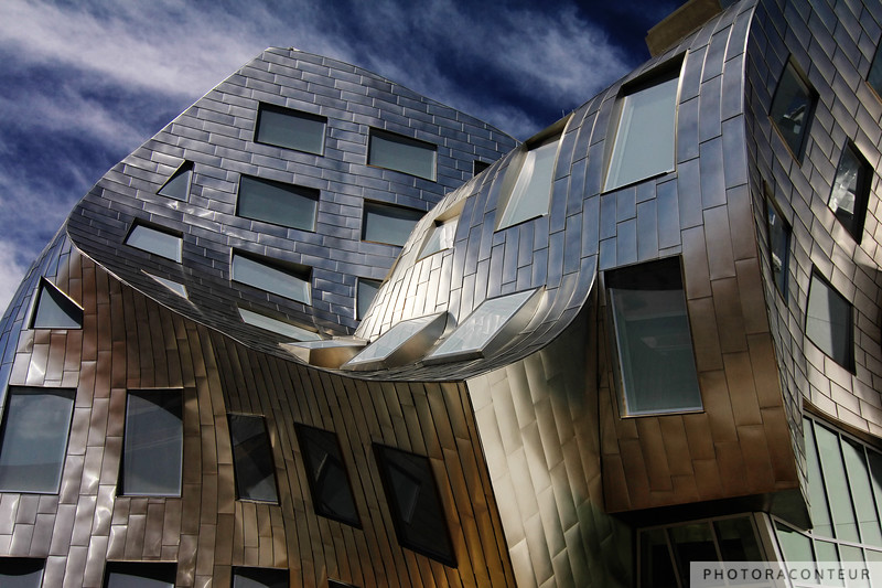 """Modern Vegas III"" ~ Vignette of Cleveland Clinic's chaotically beautiful Lou Ruvo Center for Brain Health in downtown Las Vegas.  The undulating stainless steel covered structure was designed by the master of deconstructivist architecture, Frank Gehry."