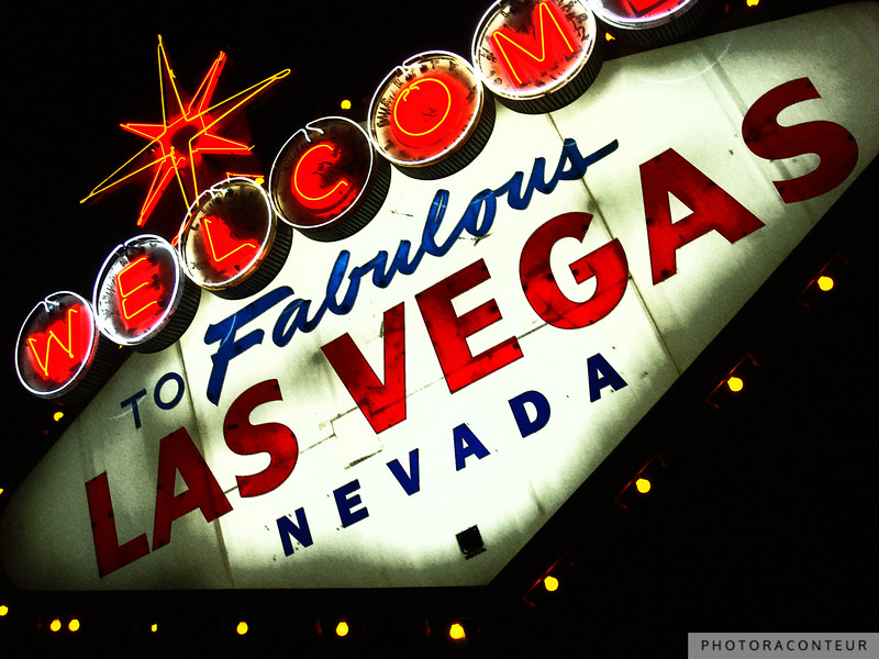 """""""Vegas Sign No. 3"""" ~ This photo composition of the famous Welcome to Las Vegas neon sign has been processed in the digital darkroom to accentuate vibrant reds and blues.    HUGE PRINTS are also available for this photo! Get prints that are taller than you are, or wider than you can stretch your arms! Click for more info:"""