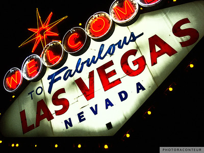 """Vegas Sign No. 3"" ~ This photo composition of the famous Welcome to Las Vegas neon sign has been processed in the digital darkroom to accentuate vibrant reds and blues.    HUGE PRINTS are also available for this photo! Get prints that are taller than you are, or wider than you can stretch your arms! Click for more info:"