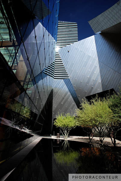 """""""Modern Vegas I"""" ~ Modern abstract architecture in Las Vegas.  One of the architects for this 2009 development described it befittingly as """"a shimmering world of reflections."""""""